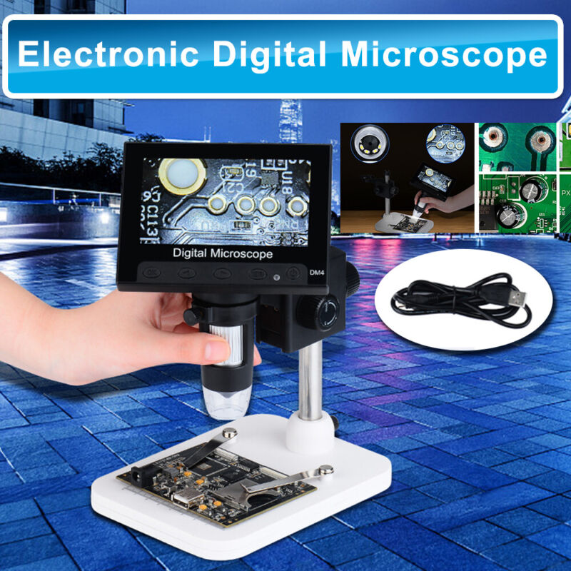 "4.3"" 1000X LCD Monitor Electronic Digital Video Microscope 8 White LED Magnifier"