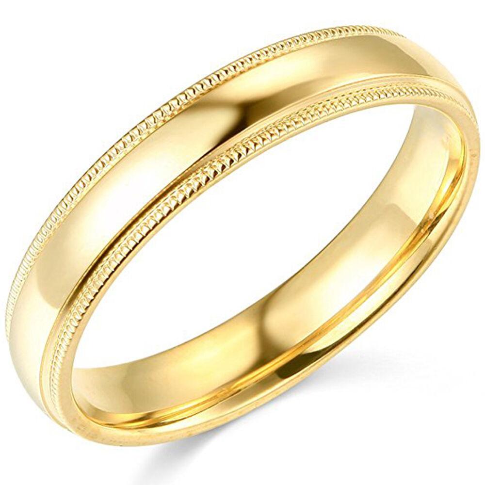 10K Yellow Gold 2mm 3mm 4mm 5mm 6mm Comfort Fit Men Women Milgrain Wedding Band 3