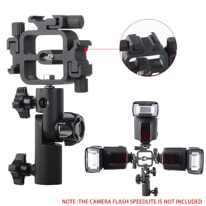 Swivel Triple Hot Shoe Mount Adapter Flash Light Stand Umbrella Holder Bracket