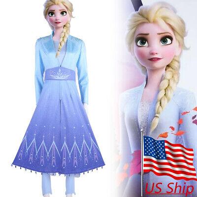 Elsa Costume For Women (Cosplay Frozen 2 Queen Elsa Princess Costume Adult Outfit Fancy Dress Gown)