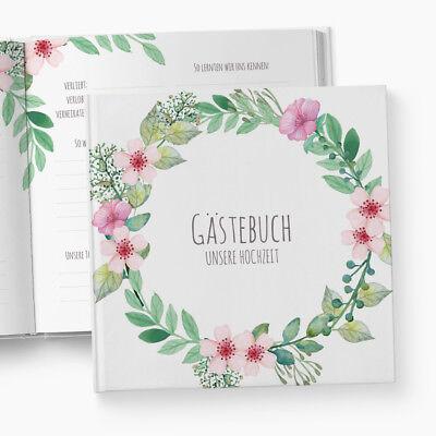 Gästebuch Hochzeit | Fragen | Boho | personalisiert | Blumen Blüten Blätter weiß ()