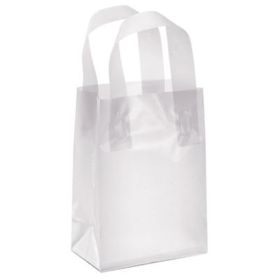 Plastic Shopping Bags 25 Clear Frosty 5 X 3 X 7 Retail Merchandise Frosted