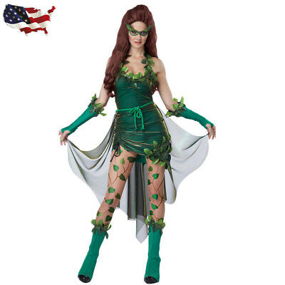 Halloween Sexy Ladies Costume Lethal Poison Ivy Beauty Cosplay Fancy - Poison Ivy Dress Costume