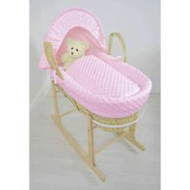 Cuddle collection natural Palm moses basket pink
