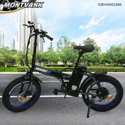 "Folding Electric Fat Tire Bike Beach Bicycle City Ebike 20"" 36V 13AH 500W"