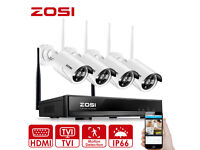 NEW BOXED ZOSI 4CH 1080P Wireless CCTV Systems with 4x 960P HD 1.3MP Wireless IP Cameras