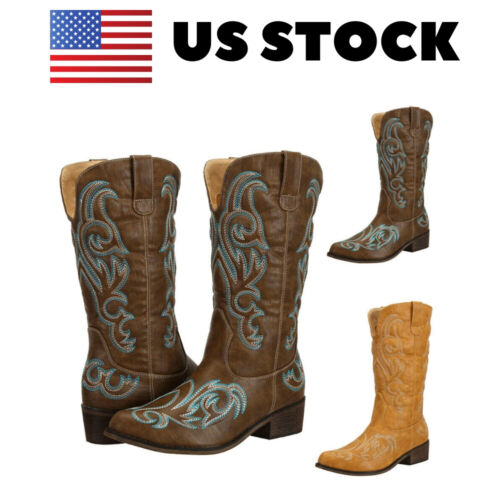 Womens Mid Calf Embroidered Western Cowgirl Cowboy Boots Brown Tan US Size 6-11