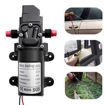 100psi Dc12v 5lmin 60w Electric Diaphragm Water Pump Self Priming For Rv Boat