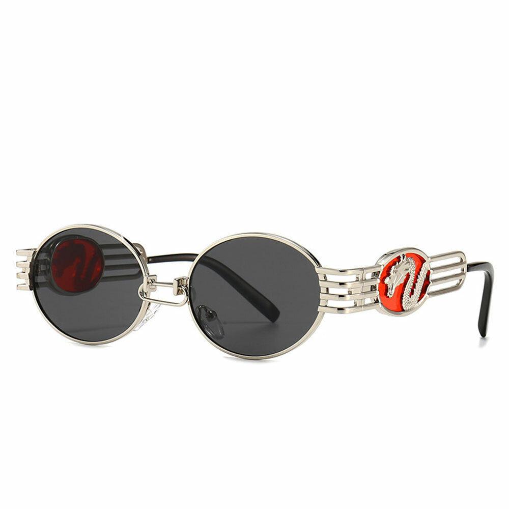 Fashion HipHop Round Sunglasses Retro Mens Women Metal Frame Steampunk Glasses
