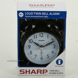 Sharp SPC843A Quartz Analog Twin Bell Backlight Luminous Alarm Clock (Black)