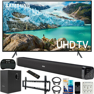 "Samsung 55"" RU7100 LED Smart 4K UHD TV (2019) Bundle with Deco Soundbar + More"