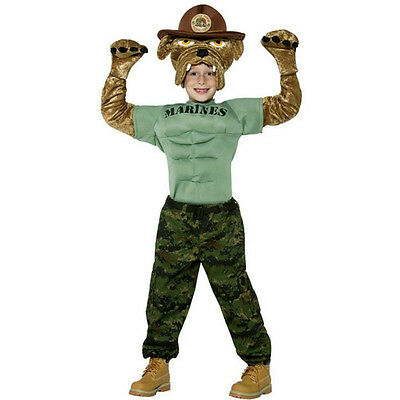 Military Soldier Chesty the Marine Bulldog Child Costume Size Small 4-6](Kids Bulldog Costume)