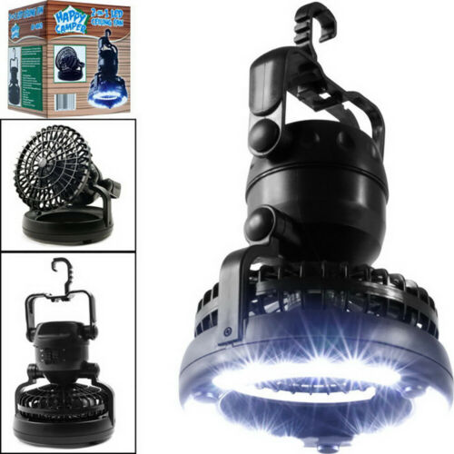 2in1 Portable LED Camping Light w/ Ceiling Fan  Outdoor Flashlight Tent Lamp Camping & Hiking