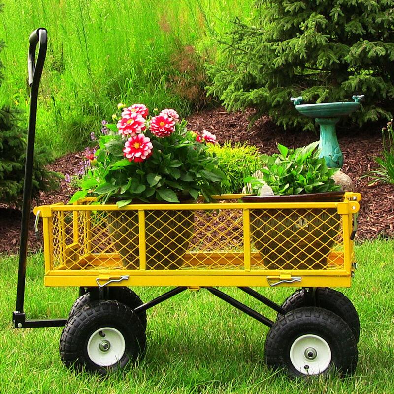 Sunnydaze Yellow Utility Cart with Removable Folding Sides - 400-Pound Capacity