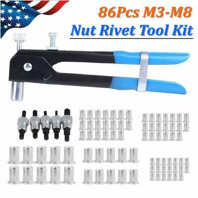 86pcs Threaded Nut Rivet M3-m8 Insert Tool Riveter Rivnut Nutsert Riveting Set