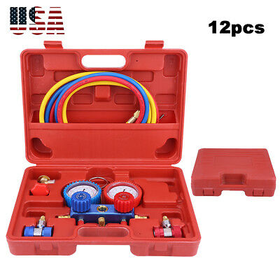 R134a Car Ac Refrigeration Kit Manifold Gauge 5ft Charging Hoses Quick Couplers
