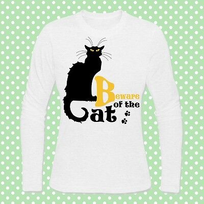 T-shirt donna manica lunga Beware of the Cat, Chat Noir, idea Halloween costume!](Cat Costumes Ideas)