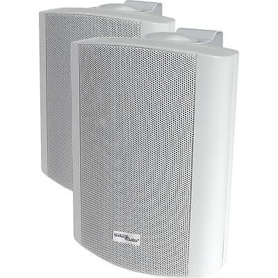 NEW (2) Indoor Outdoor 70v White Speakers.Wall Mount Pair.Weather Resistant..6.5