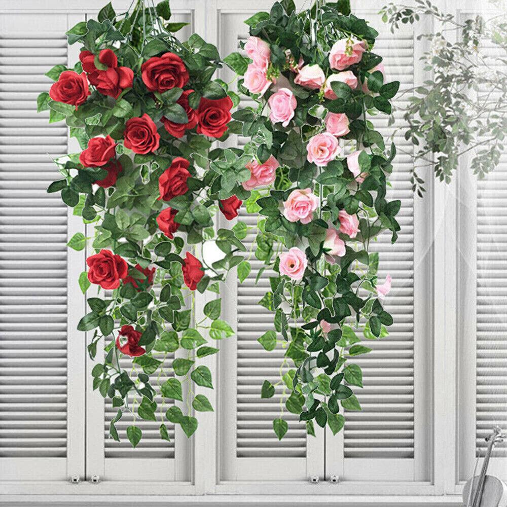 Home Decoration - Artificial Fake Hanging Rose Flowers Vine Plant Home Garden Decor Indoor Outdoor