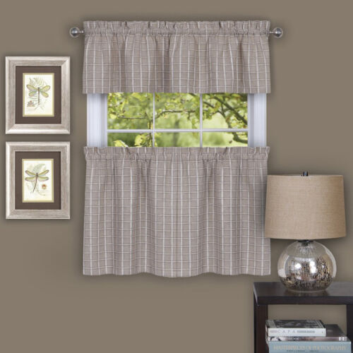 Sydney Plaid Decorative Linen Kitchen Window Curtain Tiers or Valance Cornices & Valances