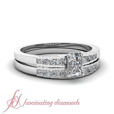3/4 Carat Radiant Cut Natural Diamond Engagement Rings Channel Set 14K Gold GIA