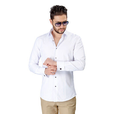 Herringbone Textured Dress Shirt (Tuxedo Dress Shirt Slim Fit Men's White Herringbone Textured French Cuff AZAR)