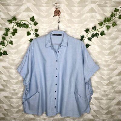Zara dolman button down baby blue blouse M