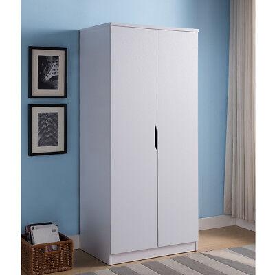 - Bedroom Furniture 2 Doors Wardrobe Organizer Storage Closet Armoire Wood White