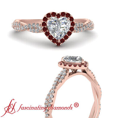 .75 Carat Heart Shaped Diamond And Round Ruby Gemstones Twisted Engagement Ring