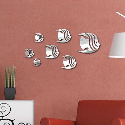 3D Art Fish Mirror Sticker Decal Bedroom Wall Decor Fashion