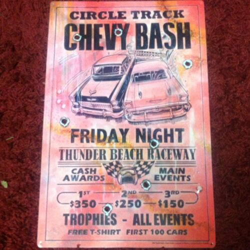 """Circle Track Chevy Bash"" New METAL ""Garage Decor"" Sign"