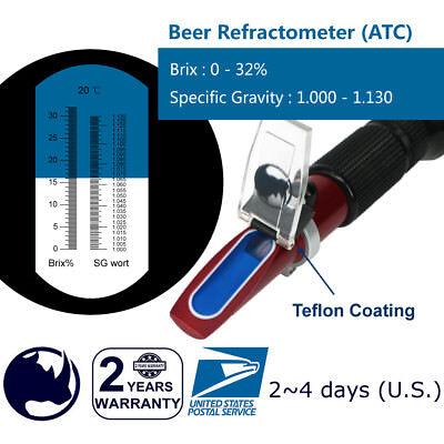 Beer ( 0-32% Brix & Specific Gravity ) Refractometer ATC   fruit juice wine test