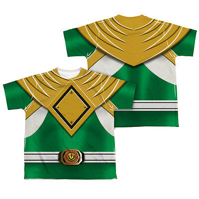 POWER RANGERS GREEN RANGER COSTUME Kids Boys Girls F/B Tee Shirt SM-XL  (Girls Power Ranger)