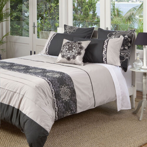 KAS Baroque Opulent Charcoal Taupe Grey Queen King Quilt Duv