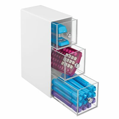Mdesign Plastic Office Desk Storage Organizer Flips 3 Drawers - Whiteclear