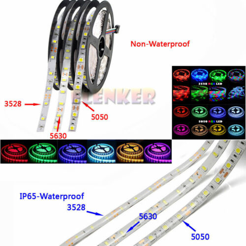DC 12V 5M 3528 5050 LED Strip Light Non//Waterproof LED Flexible Lamp Rope Tape