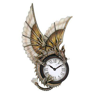 Anne Stokes Figur Fantasy, Drachen Uhr, Steampunk
