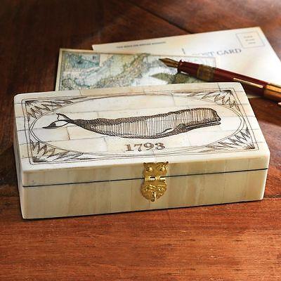 Nice Antique Style Folk Art Whale Scrimshaw Bone & Wood Trinket Box 1793 New