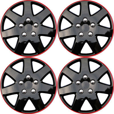 """4 PC Hubcaps Fits Select Cars 15"""" Ice Black Red Replacement Wheel Rim Skin Cover for sale  Gardena"""