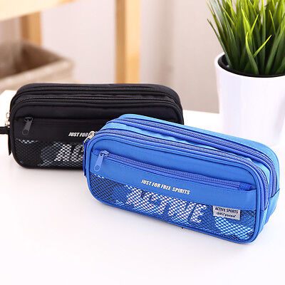 Large Double Zip Pencil Case Pen Box Boys Girls Bag School S