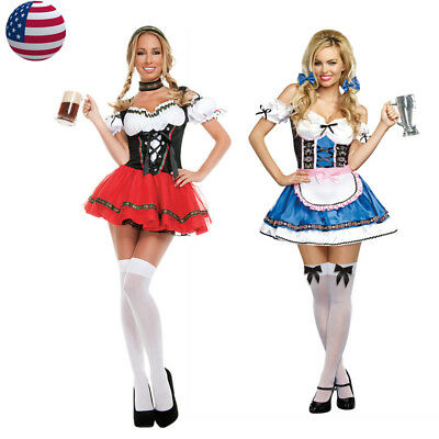 Women Beer Girl Costume Oktoberfest German Gretchen Wench Fancy Dress - German Beer Wench