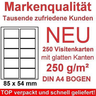 Visitenkarten 250g/m² Papier 250 gestanzte Karten auf DIN A4 zum selber drucken