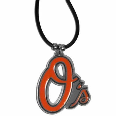 Baltimore Orioles Rubber Cord Necklace w/ Logo Charm Licensed MLB Jewelry