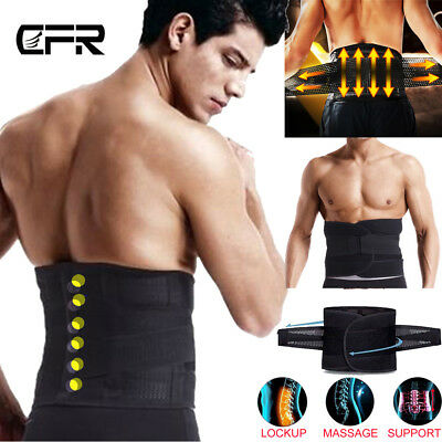Adjustable Double Pull Lumbar Support Lower Waist Back Belt Brace Pain Relief AM