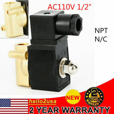 12 Brass Electric Solenoid Valve Water Oil Air Gas Welders 110120v Ac Nc Npt