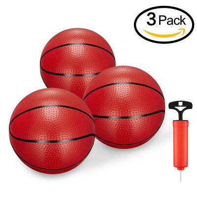 3PCS Toddler/Kids Replacement Mini Toy Basketball Rubber For Kids With Pump US