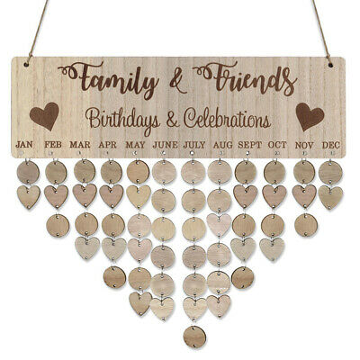 Wooden Calendar Board Sign Family Celebration and Birthday Reminder DIY Z9M4](Birthdays And Signs)