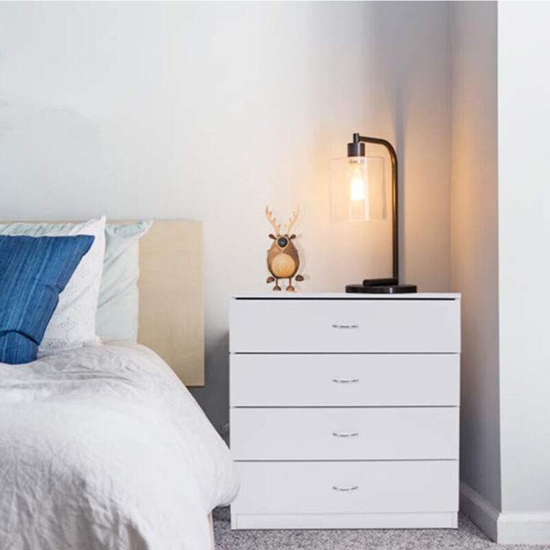 Home Bedroom 4 Drawers Night Stand Wooden Storage Organizer Furniture White