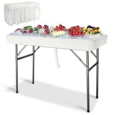 4' Plastic Folding Party Ice Chests Cooler Table Outdoor Cooking Matching Skirt