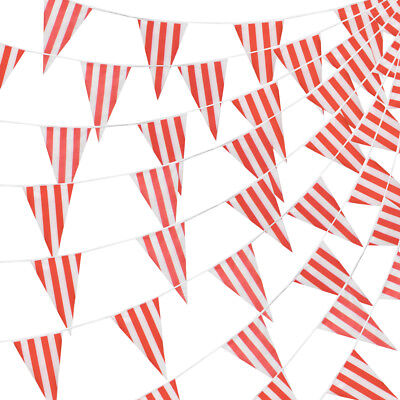 100 Foot Pennant Banner, 48 Red & White Striped Flags, Circus & Carnival Party (Circus Decor)